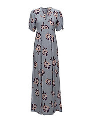 50s Maxi Dress - PURPLE FLOWERS