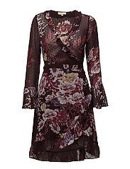 Semi Couture Wrap Dress - FANTASY BURGUNDY
