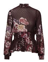Semi Couture Smocking Blouse - FANTASY BURGUNDY