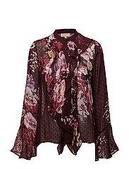 Semi Couture Ruffle Blouse - FANTASY BURGUNDY