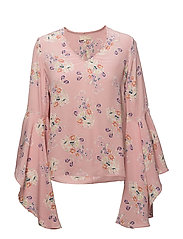 Flared V-Neck Blouse - 375 PRIMROSE PINK