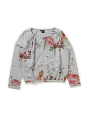 Cardigan w/zipper - all over print flower