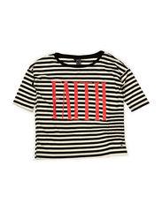 Fashion top - Striped black/off white