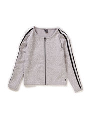 Cardigan w/zipper - light grey mix