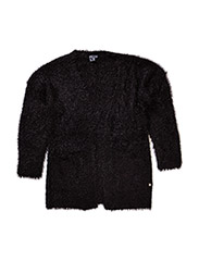 Long fluffy cardigan - BLACK