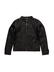 Fake leather jacket - BLACK