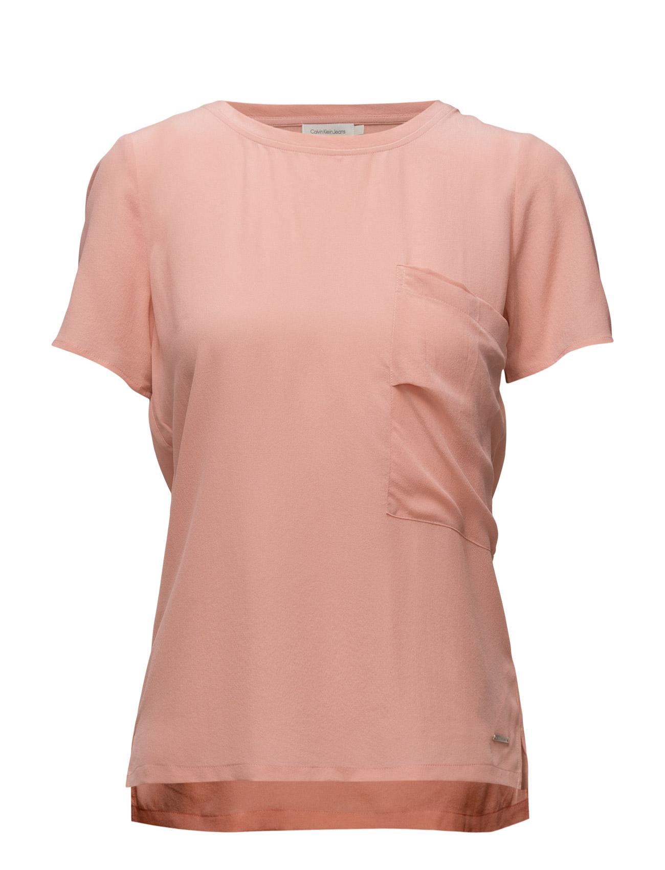 Efa Cn Woven Top S/S Calvin Klein Jeans Bluser til Kvinder i Lyserød