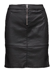 Seamed mini Skirt -, - OILY BLACK