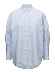 WIVA OVERSIZED SHIRT LS - BRIGHT WHITE / BLUE