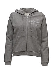 HOLT HWK HOODED ZIP, - LIGHT GREY HEATHER