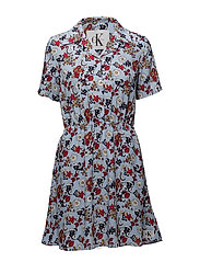DANIELA DRESS SS - AOP FLOWER/ CHAMBRAY BLUE COMB