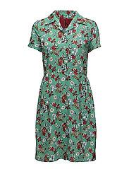 DIXIE DRESS SS - AOP FLOWER / MING GREEN COMBO