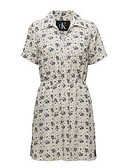 DILLY DRESS SS, 205, - AOP FLOWER / PEARLED IVORY COM