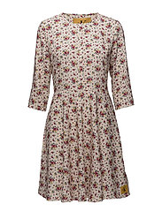 DENISE DRESS 3/4 LS, - AOP FLOWER 1 PEARLED IVORY