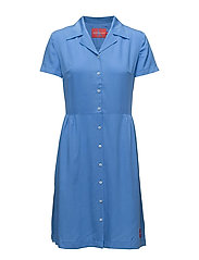 DRAPEY TENCEL SHORT SLEEVE TEA DRESS - REGATTA
