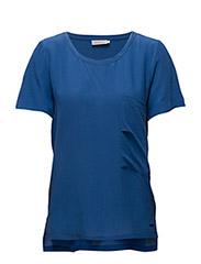 Efa cn woven top s/s - BLUE