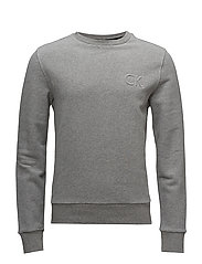 KAPLER_2 SOLID FRENCH TERRY CHEST LOGO - MID GREY HEATHER
