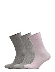 CK 3PK EMMA ROLL TOP CREW G59 - PINK/PALE GREY/GREY