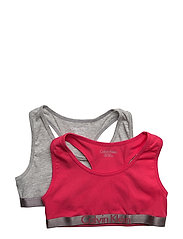 2 PACK BRALETTE, 015 - 1 GREY HEATHER/ 1 ROSE RED