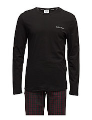 PJ PANT W L/S CREW, - WILL PLAID BLACK / BLACK