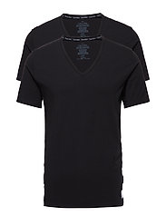 2P S/S V NECK T SLIM - BLACK / BLACK