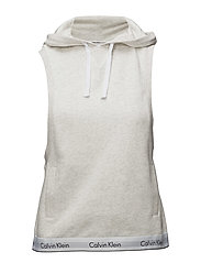 TOP HOODIE SLEEVLESS - SNOW HEATHER