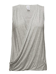 TOP V NECK SHORT SLE - GREY HEATHER