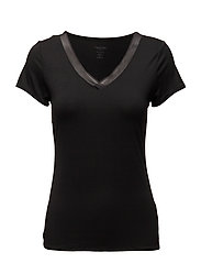 S/S V NECK 3SY, L - BLACK