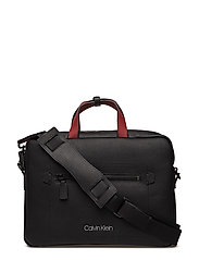 TRIPLE BLOCK SLIM LAPTOP BAG - BLACK