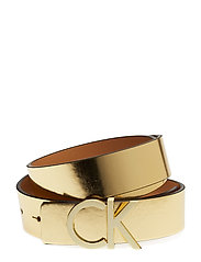 CK REVERSIBLE BELT B - GOLD/TOAST