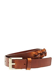 J LEATHER BRAIDED BELT 2.5CM - COGNAC
