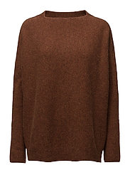 Wide crewneck cotton - RUST MELANGE