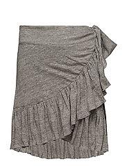 Linen Ruffle skirt - LIGHT GREY MELANGE