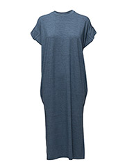 Wide long dress - BLUE MELANGE