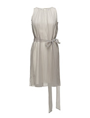 Tulle dress w/belt - PEARL GREY