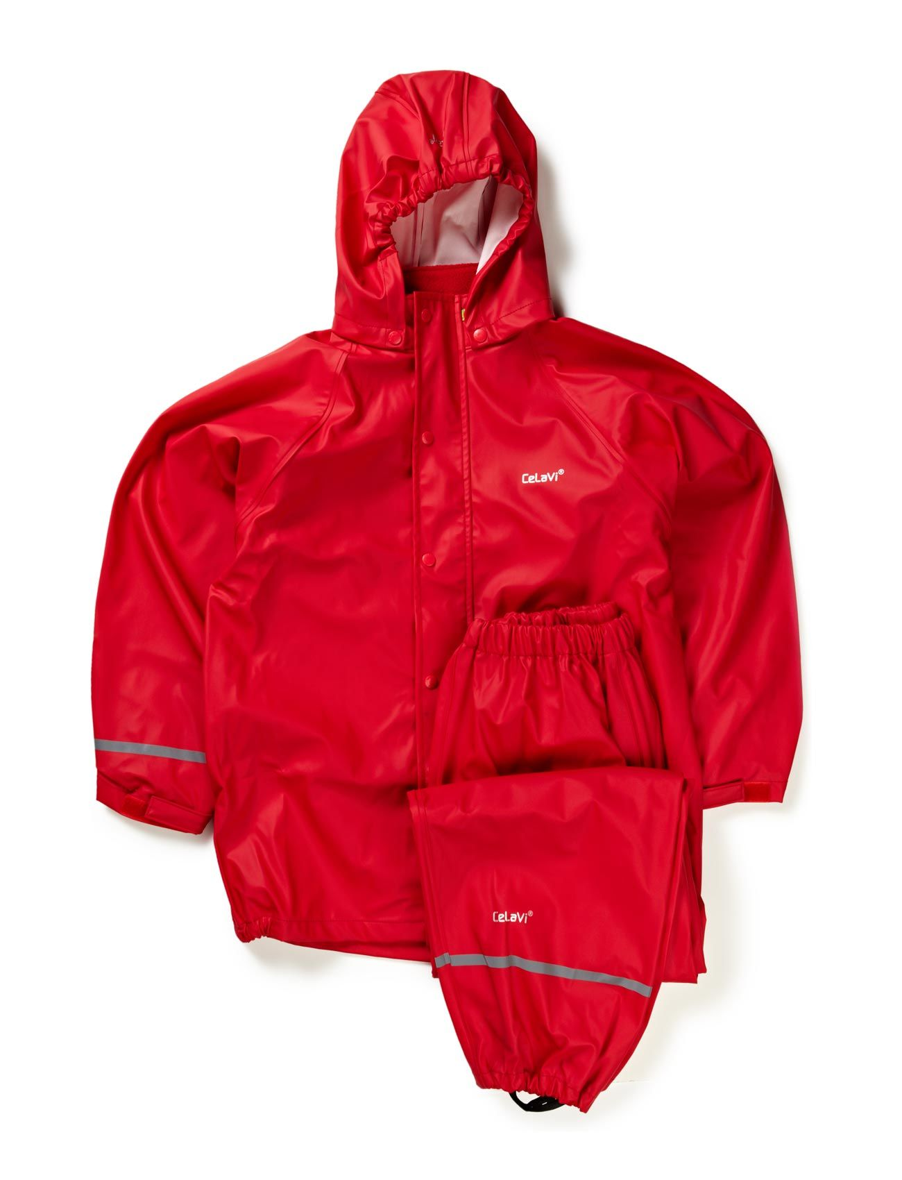 Basci Rainwear Set, Solid CeLaVi Regntøj til Børn i Rød