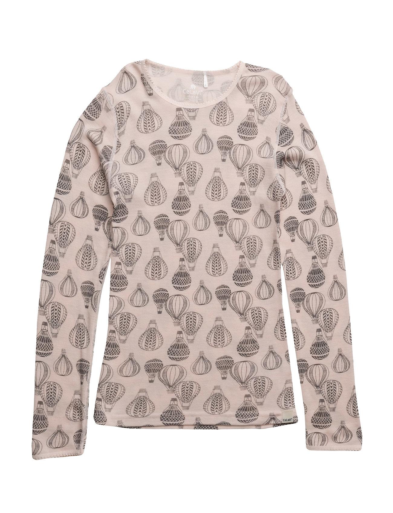 Undershirt Ls W. Aop Wool Wonder Wollies CeLaVi T-shirts til Piger i