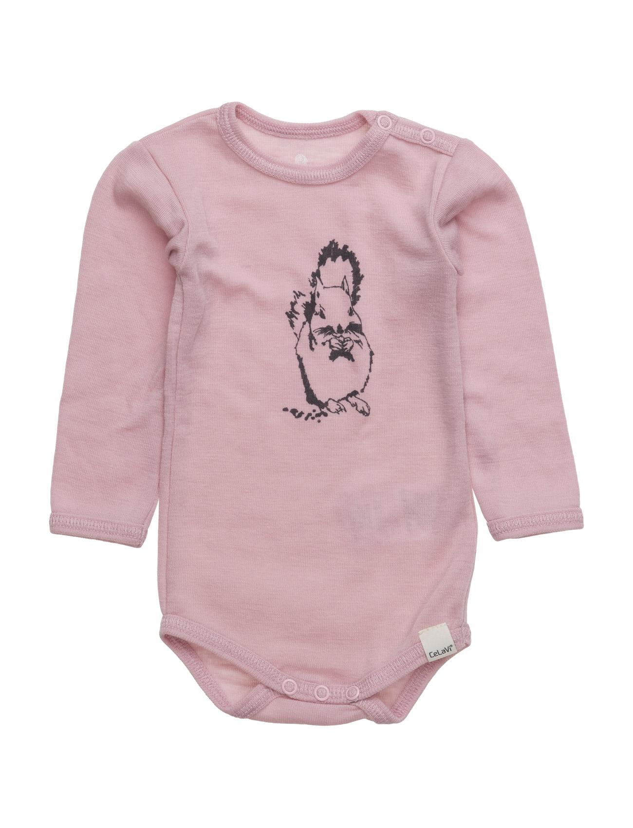Body Ls Chest-Print Wool CeLaVi Langærmede bodies til Børn i Light Rose