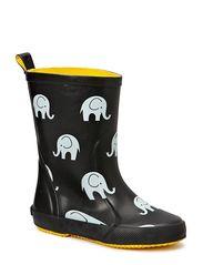 Wellies w. elephant print - BLACK