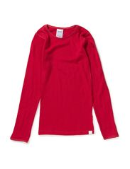 Undershirt longsleeve coloured wool - Persian Red