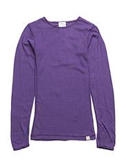 Undershirt longsleeve coloured wool - VIOLET