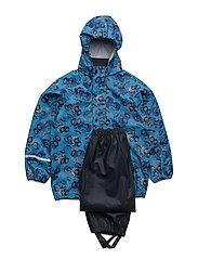 Rainwear suit -PU w. AOP - BLUE