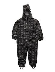 Rainwear suit -PU w. AOP - BLACK