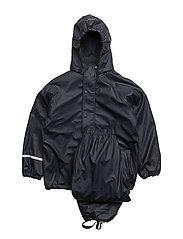 Rainwear -solid with fleece and fleece-lining - NAVY