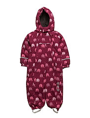 Snowsuit -elephant with 2 zippers - BEET RED
