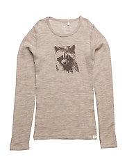 Undershirt LS chest-print wool Wonder wollies - GRAY MORN