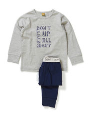 Pyjamas with boy print - Grey melange