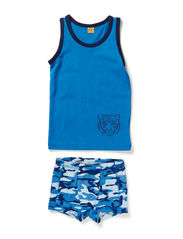 Underwear set with boy print - Vallarta Blue