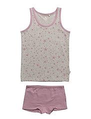 Underwear set - w. girl print - ELDERBERRY