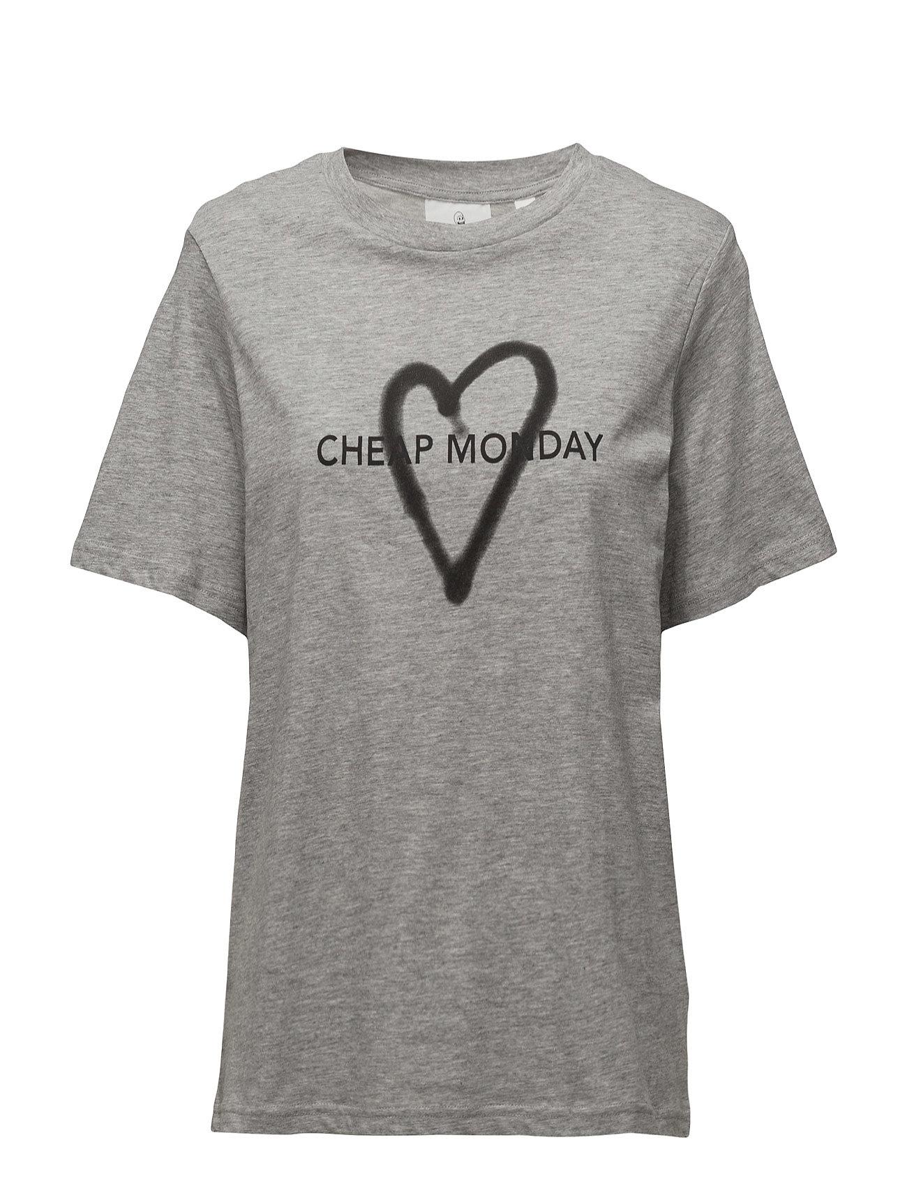 Breeze Tee Love Logo Cheap Monday Kortærmede til Damer i Grey Melange